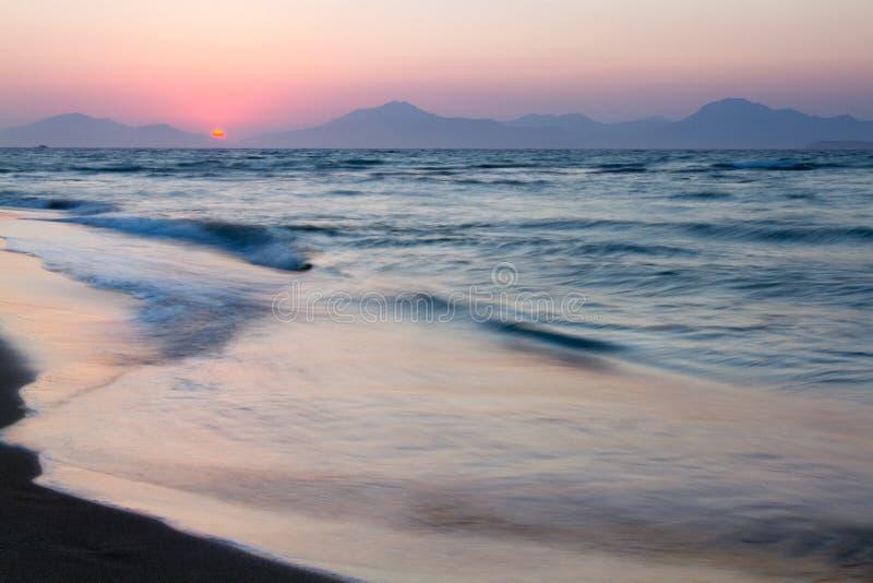 zachód słońca na plaży Kos, Grecja zdjęcia royalty free