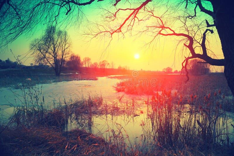 zachód słońca nad jezioro obrazy royalty free