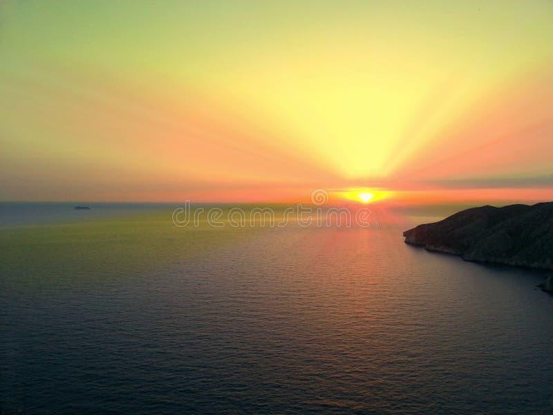 zachód słońca nad morza czarnego Grecja obraz stock