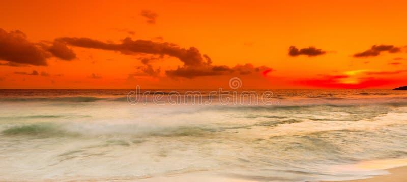 zachód słońca nad morza czarnego panorama zdjęcie royalty free