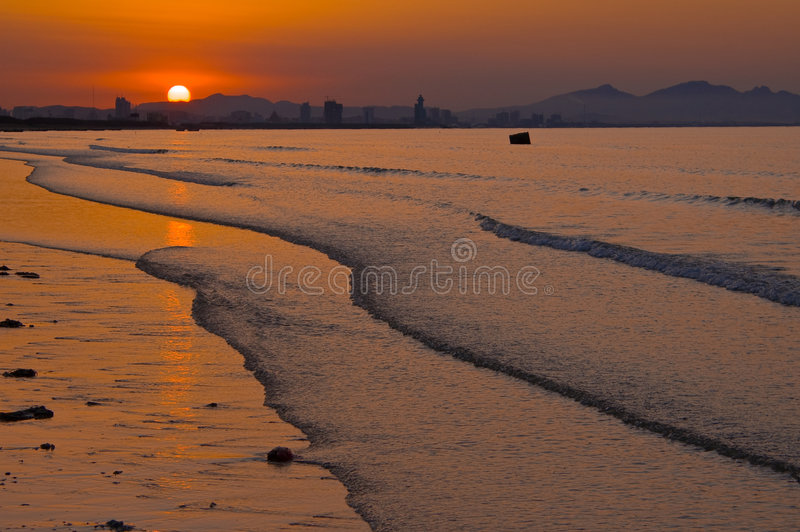 zachód słońca nad morze zdjęcie royalty free
