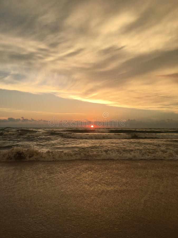 zachód słońca nad ocean fotografia stock