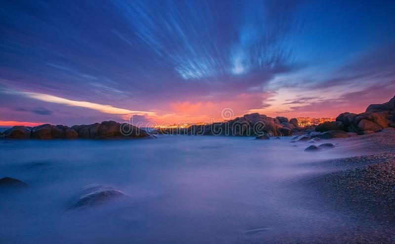 zachód słońca nad ocean długo ekspozycji zdjęcia stock