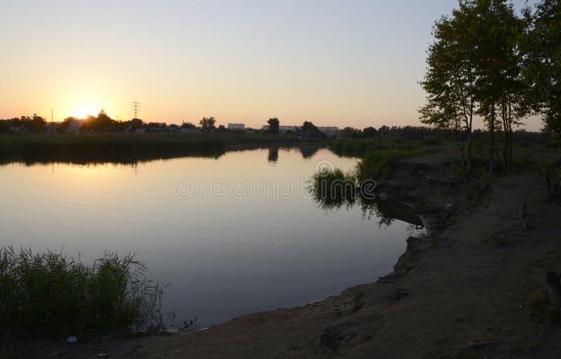 Zachód słońca nad rzeką Tobol w Kostanay, Kazachstan obrazy royalty free