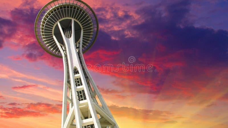 zachód słońca nad Seattle zdjęcia stock