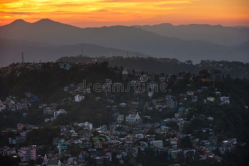 Zachód słońca w Aizawl zdjęcia stock