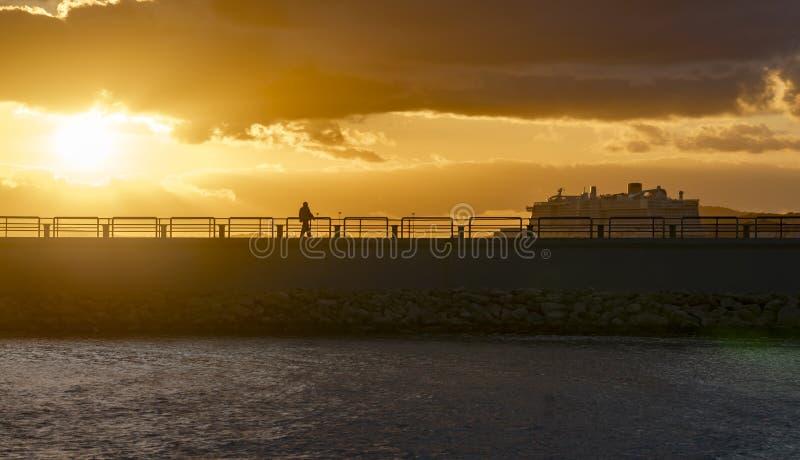 Zachód słońca w porcie portiksolu fotografia stock