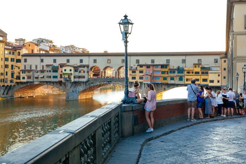 Zachód słońca w rejonie Ponte Vecchio, Firenze - Florencja obrazy royalty free
