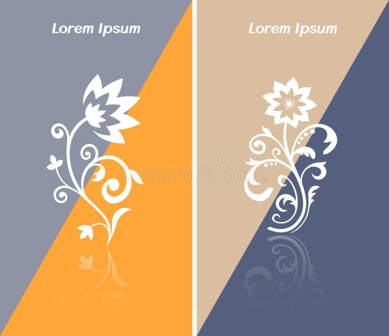 Zachęcający wizytówki lub sieci sztandar z abstrakcjonistyczną kwiat ikoną royalty ilustracja
