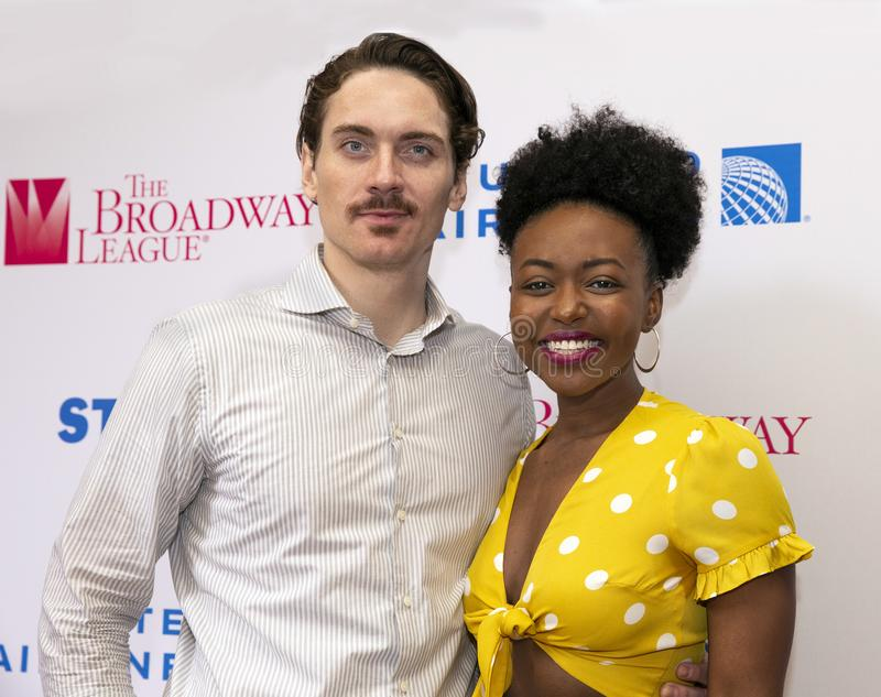 Zach Hess & Aisha Jackson at 2019 Stars in the Alley. Actors Zach Hess & Aisha Jackson at Stars in the Alley, a free outdoor afternoon 2 hour concert heralding stock photo