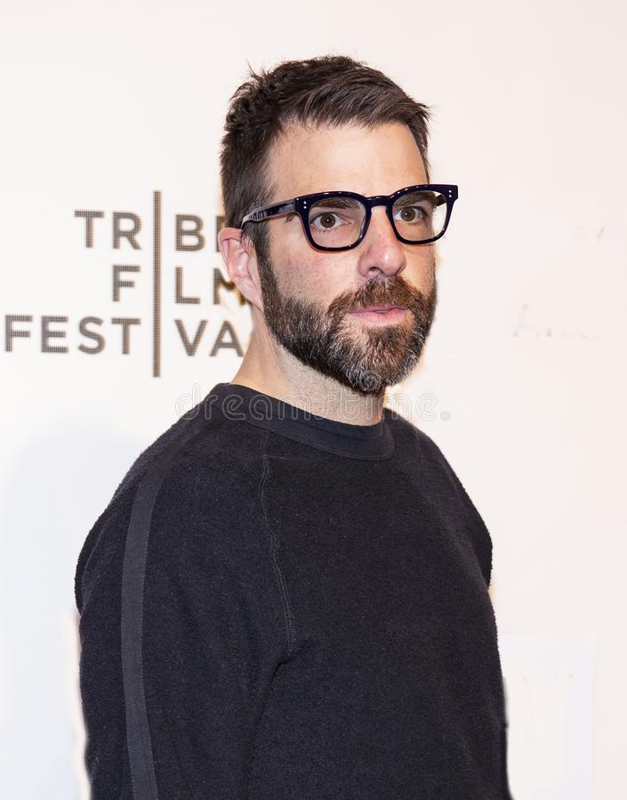 Zachary Quinto at World Premiere of `Yesterday` at 2019 Tribeca Film Festival. Actor Zachary Quinto arrives at the World Premiere of `Yesterday,`  Closing royalty free stock image