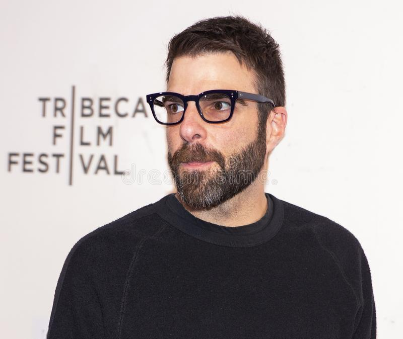Zachary Quinto at World Premiere of `Yesterday` at 2019 Tribeca Film Festival. Actor Zachary Quinto arrives at the World Premiere of `Yesterday,`  Closing stock images