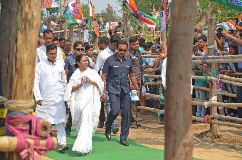 Zachodni Banerjee Bengalia sekretarza generalnego Mamata wybory wiec przy Burdwan obraz stock