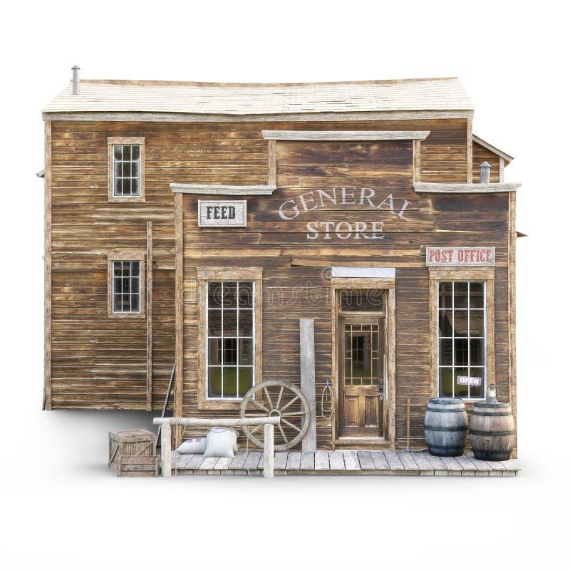 Zachodni grodzki nieociosany ogólny sklep na odosobnionym białym tle zdjęcie royalty free