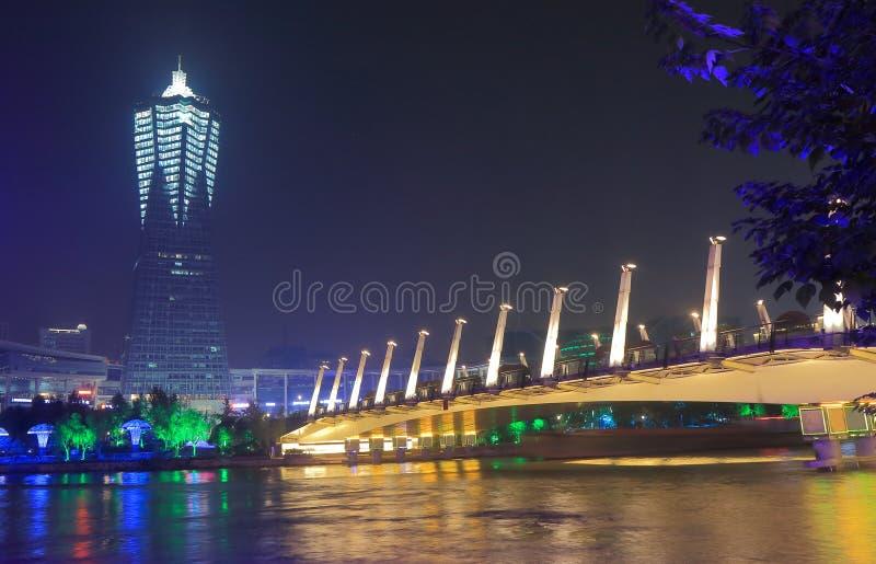 Zachodni jeziorny kulturalnego kwadrata nocy pejzaż miejski Hangzhou Chiny zdjęcie stock