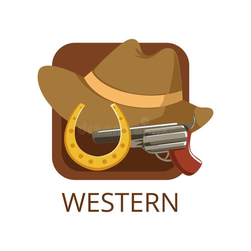 Zachodni kinowy gatunek, symbol dla kina lub kanał, kinematografia, film produkci wektoru ilustracja ilustracja wektor
