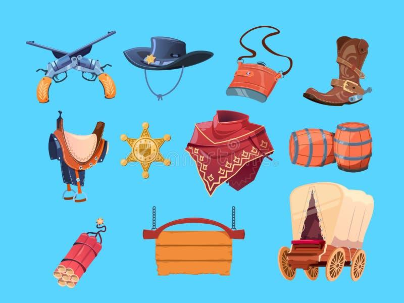 Zachodni kreskówka elementy Dzicy zachodni kowbojscy buty, kapelusz i pistolet, Szeryfa odznaki, dynamitu i furgonu wektoru ikony ilustracji