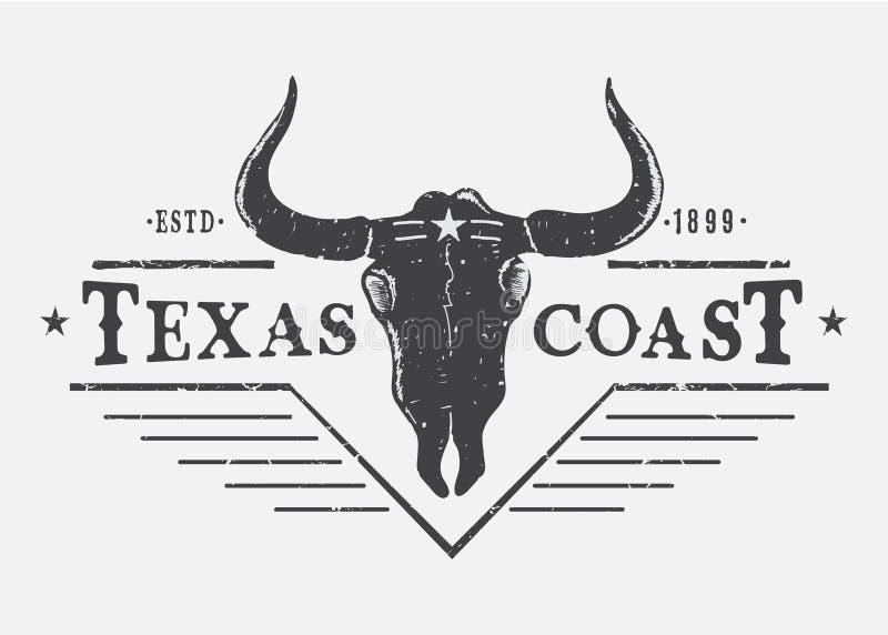 Zachodni logo z byk czaszką royalty ilustracja
