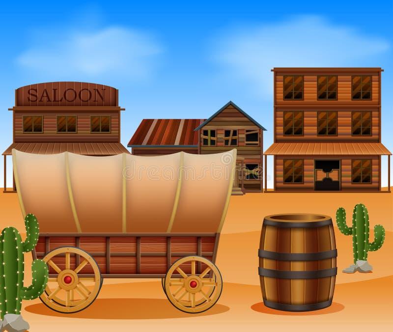 Zachodni miasteczko z drewnianym furgonem ilustracja wektor