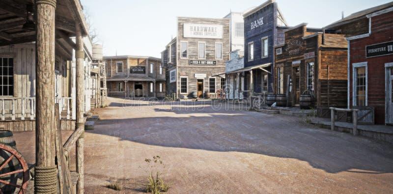 Zachodni miasteczko z różnorodnymi biznesami ilustracji