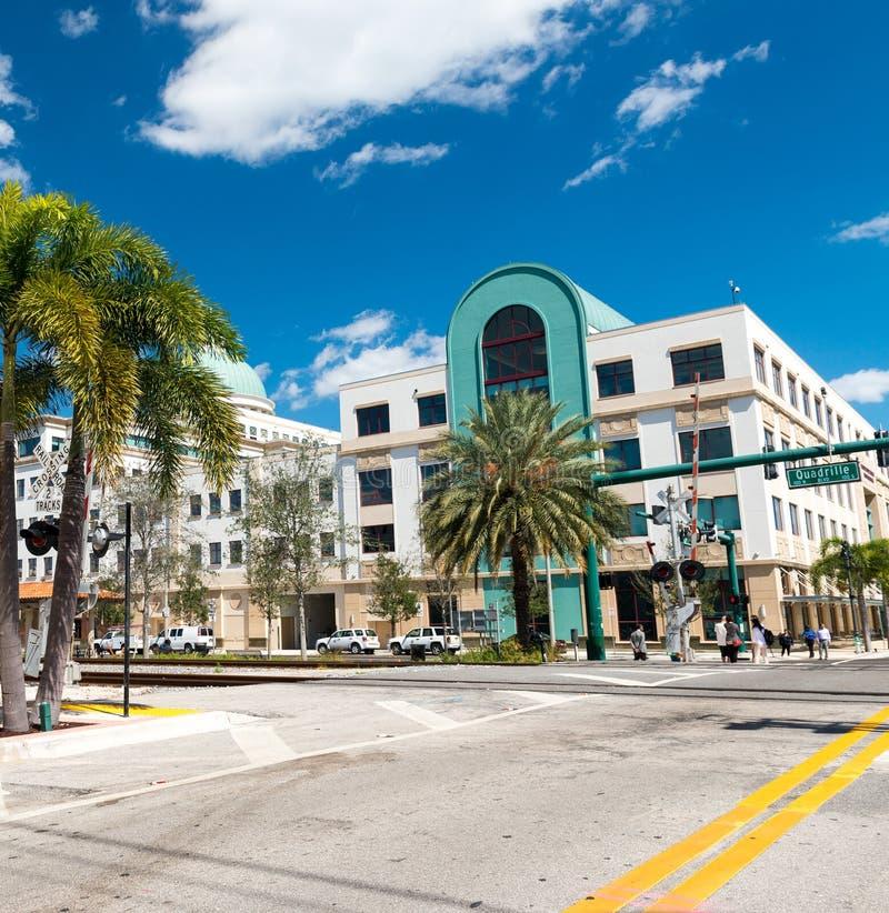 ZACHODNI palm beach FL, STYCZEŃ, - 2016: Pejzaż miejski na pięknym słońcu fotografia stock