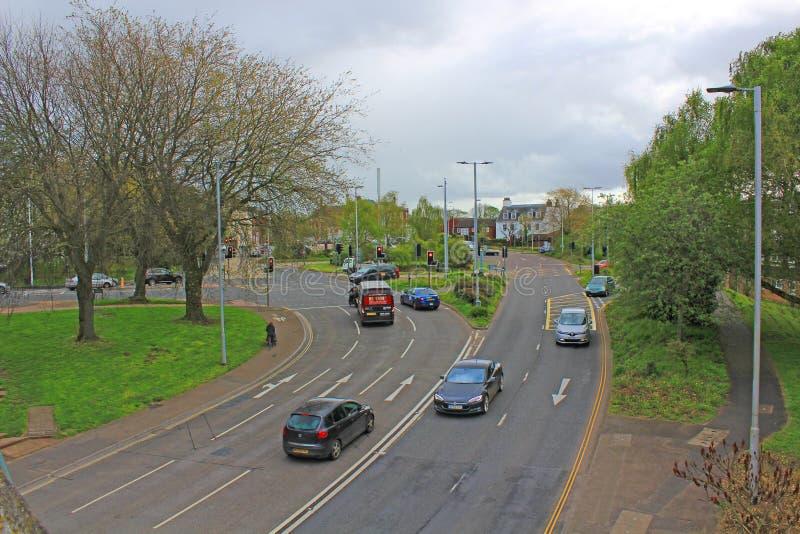 Zachodni sposób, Exeter, patrzeje w kierunku Rzecznego Exe zdjęcia stock