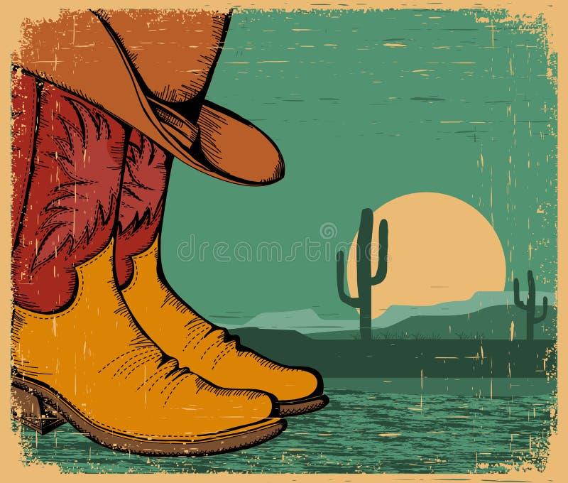 Zachodni tło z kowbojskimi butami ilustracja wektor