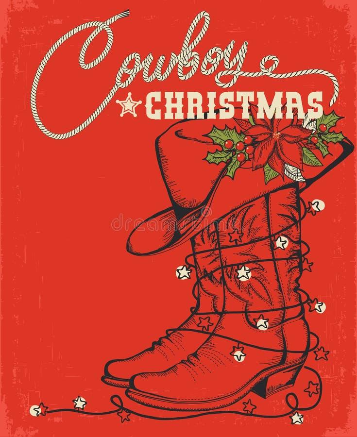 Zachodnia czerwona kartka bożonarodzeniowa z kowbojskim butem i dekoracyjnym tekstem royalty ilustracja
