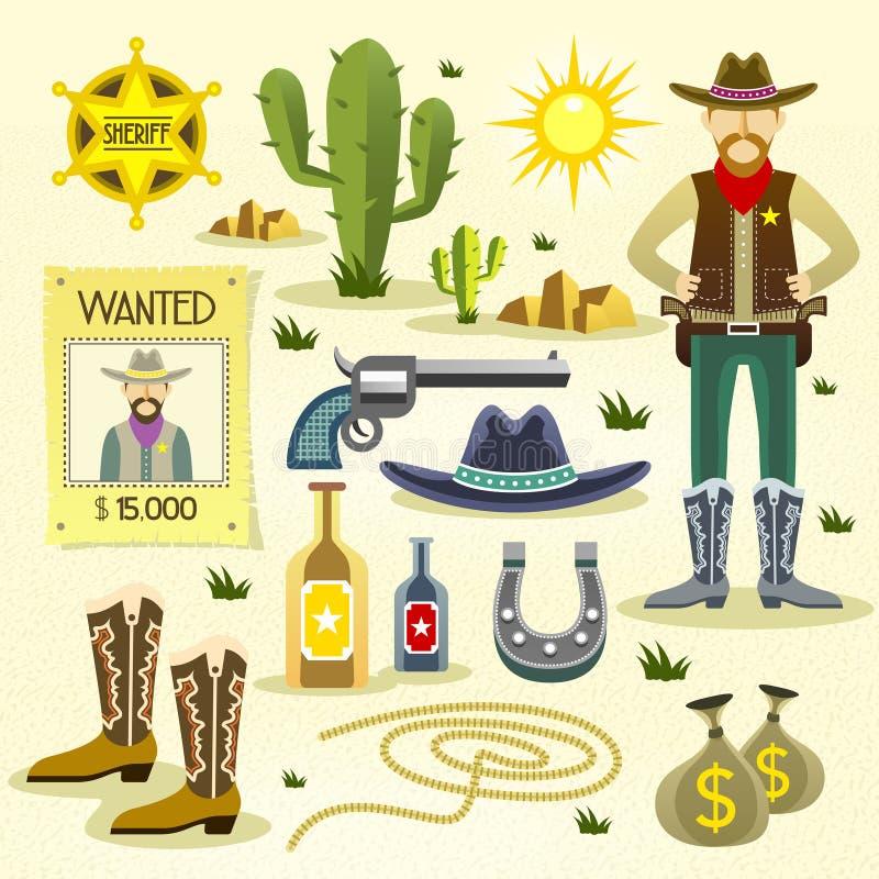 Zachodnie kowbojskie płaskie ikony ustawiać royalty ilustracja