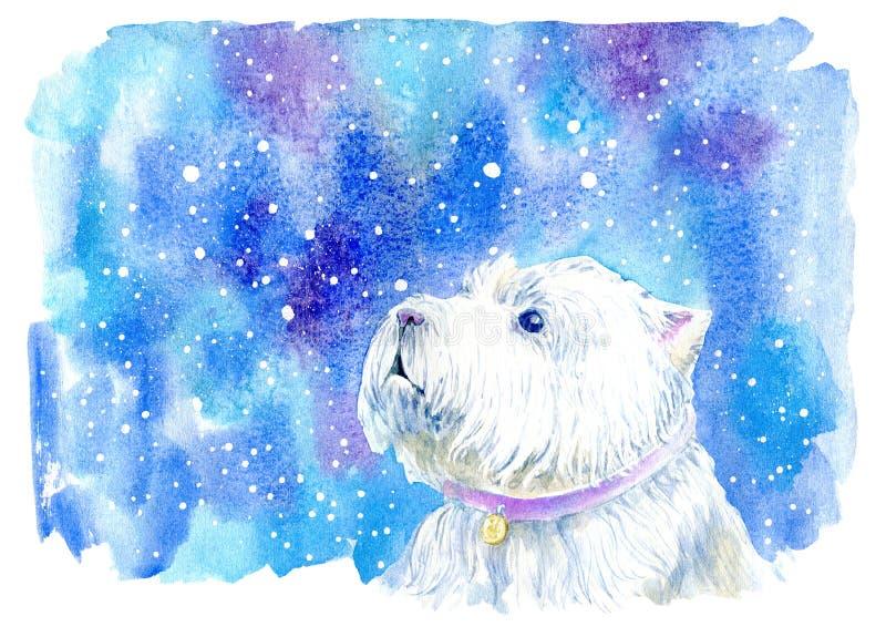 Zachodniego średniogórza biały terier i płatki śniegu Kartka z pozdrowieniami pies ilustracji