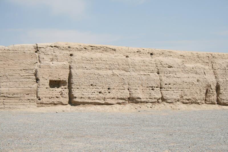 Zachodniej końcówka antyczny wielki mur Chiny, Gansu zdjęcie royalty free