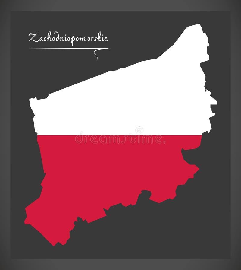 Zachodniopomorskie map of Poland with Polish national flag illus. Zachodniopomorskie map of Poland with Polish national flag stock illustration