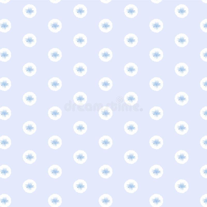 Zacht blauw kruis uit de vrije hand op de witte achtergrond van het cirkelpatroon stock illustratie