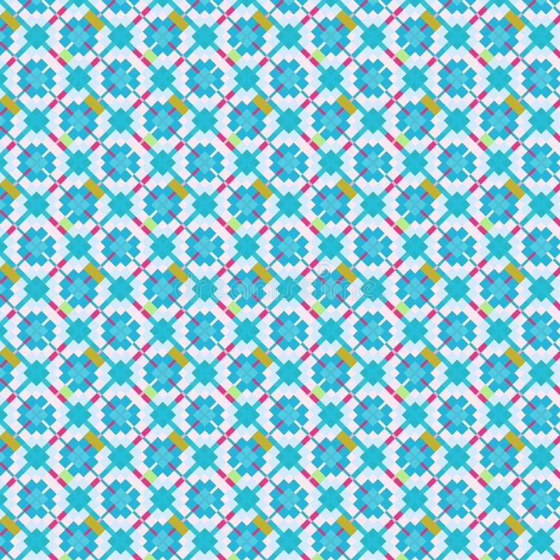 Zacht blauw vierkanten en diamanten naadloos patroon stock illustratie