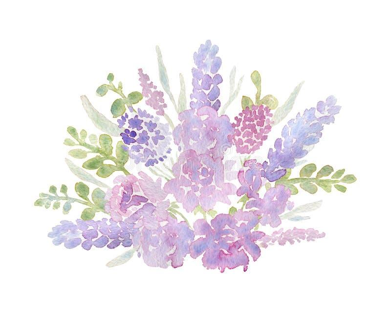 Zacht boeket met roze rozen en pioenen voor de kaart van de huwelijksgroet Uitnodigingsmalplaatje met romantische tuinbloemen vector illustratie