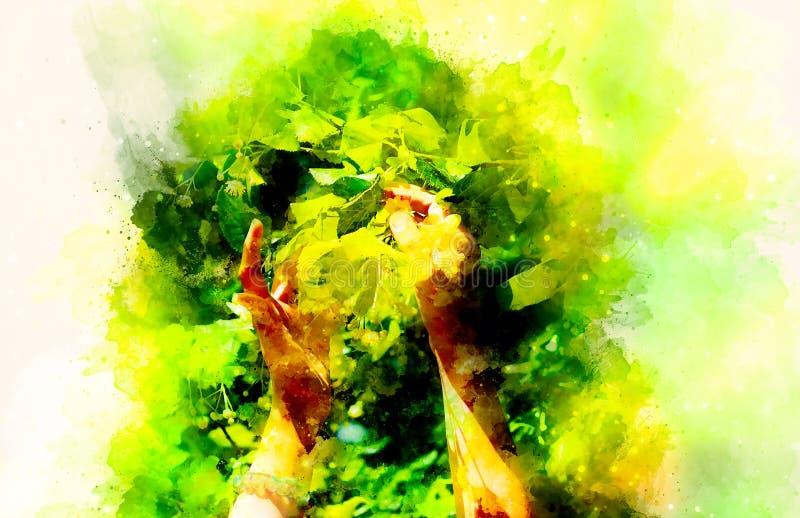 Zacht gebed aan een mooie lindeboom op heldere midzomerdag en zacht vage waterverfachtergrond stock foto