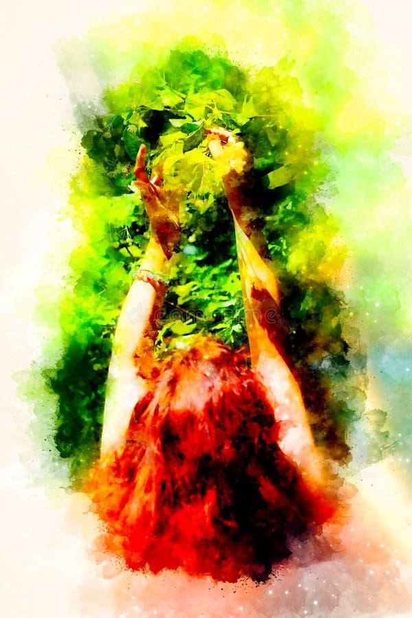 Zacht gebed aan een mooie lindeboom op heldere midzomerdag en zacht vage waterverfachtergrond royalty-vrije stock afbeelding