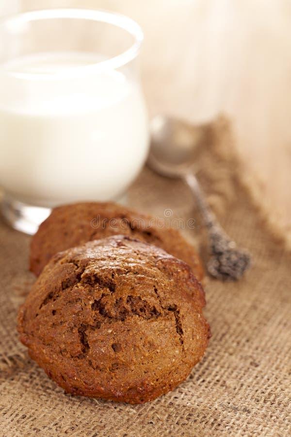Zacht gemberkoekje met glas melk stock foto