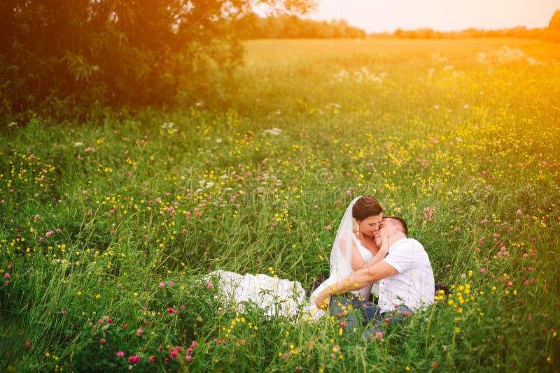 Zacht huwelijkspaar die op de weide tijdens zonsondergangstijgingen liggen royalty-vrije stock fotografie