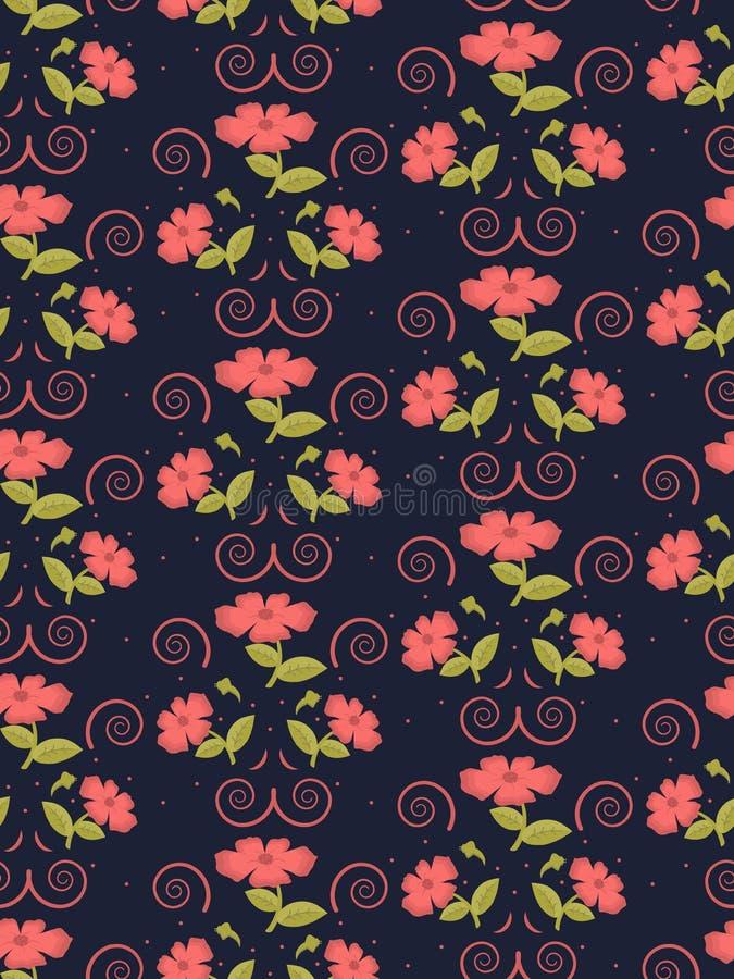 Zacht naadloos leuk patroon van bloemen in in koraalkleur op de marineachtergrond vector illustratie