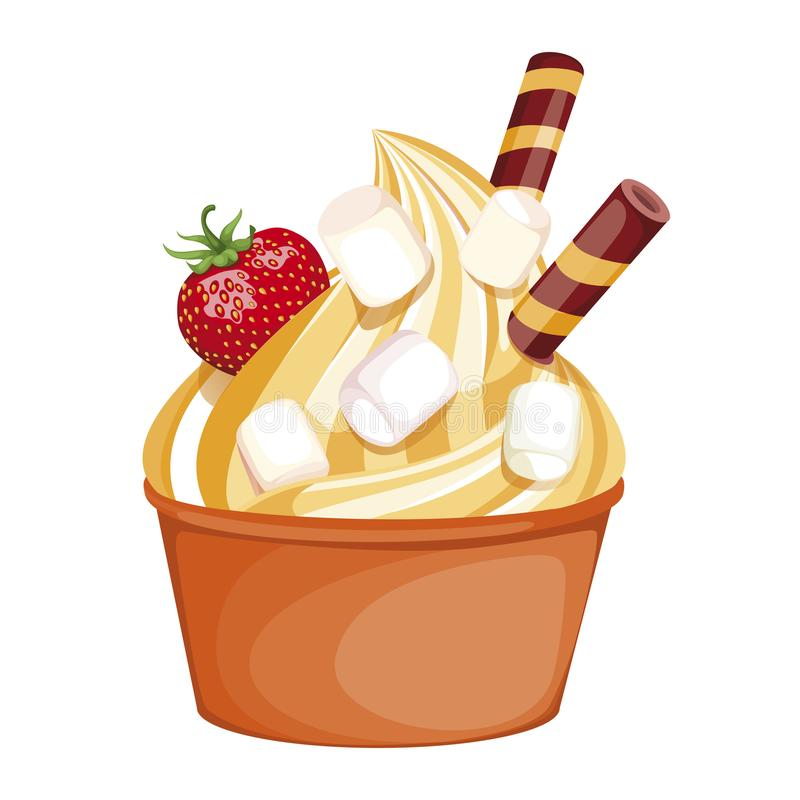 Zacht oranje roomijs in een ogangekop heerlijk die dessert, met slagroom wordt verfraaid stock illustratie