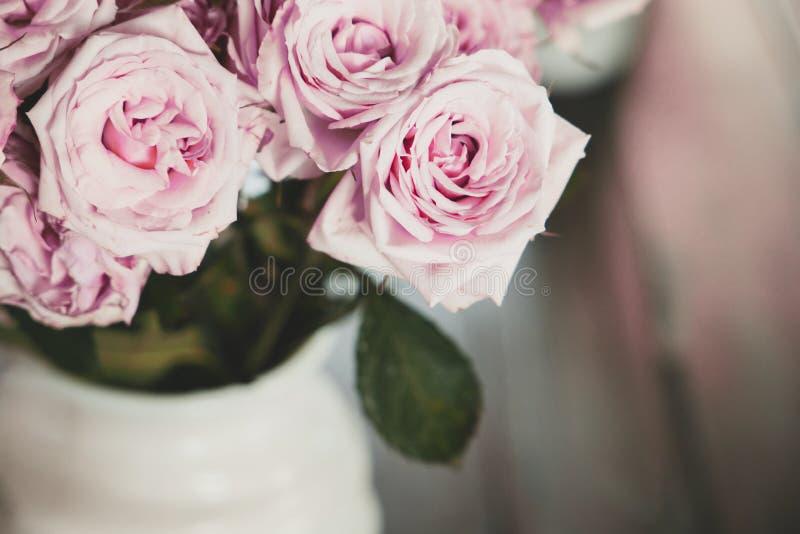 Zacht roze dozijn rozen in witte vaas royalty-vrije stock fotografie