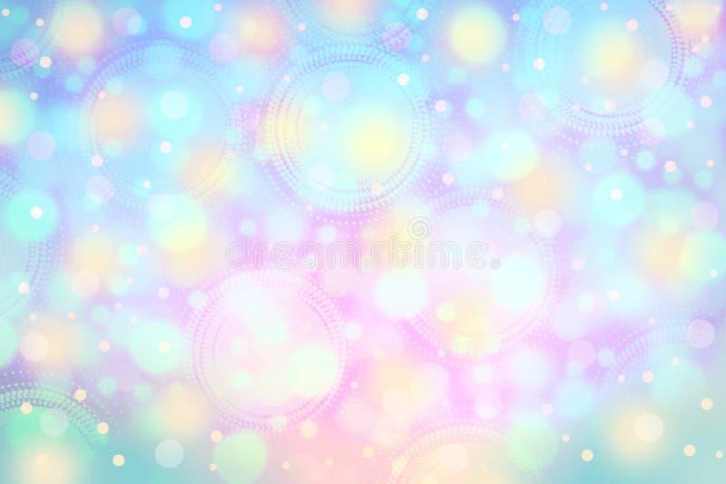 Zacht roze, purper en blauw kleurrijk bokeh levendig licht backgroun stock illustratie
