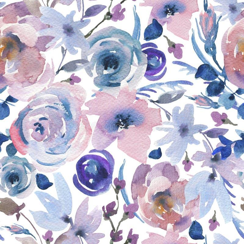 Zacht Waterverf Bloemen Naadloos Patroon in La Prima Style, Roze Waterverfrozen royalty-vrije illustratie