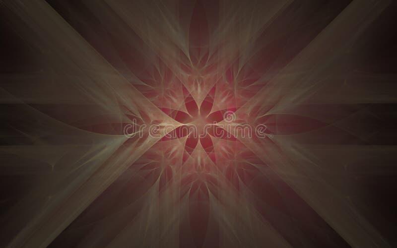 Zachte abstracte de ster beige tonen van de ornamentachtergrond op een rode achtergrond royalty-vrije illustratie