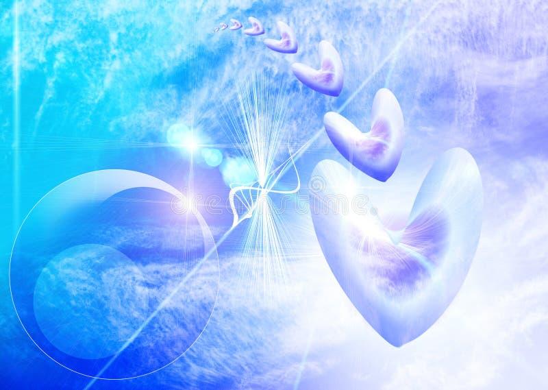 Zachte blauwe hemelachtergrond met harten vector illustratie