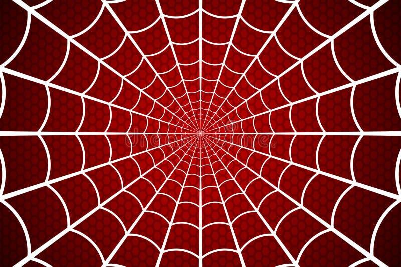 Zachte blauwe tint Spinneweb op Rode achtergrond Vector illustratie vector illustratie