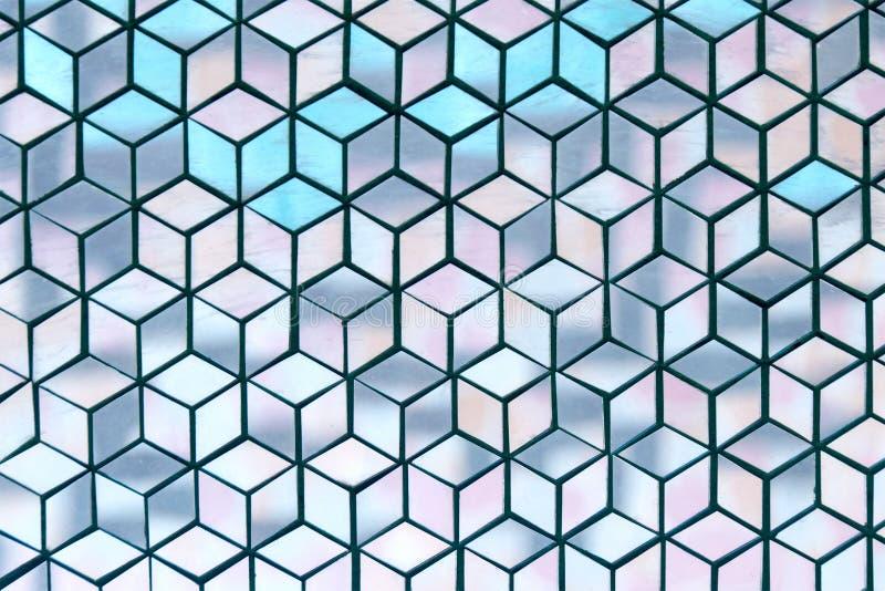 Zachte blauwe van de ruitstukken van het toonglas geometrische abstracte de textuurachtergrond stock fotografie