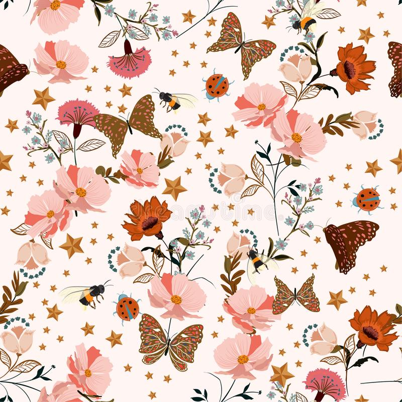 Zachte en zachte uitstekende bloemen die in de romantische tuin bloeien stock illustratie
