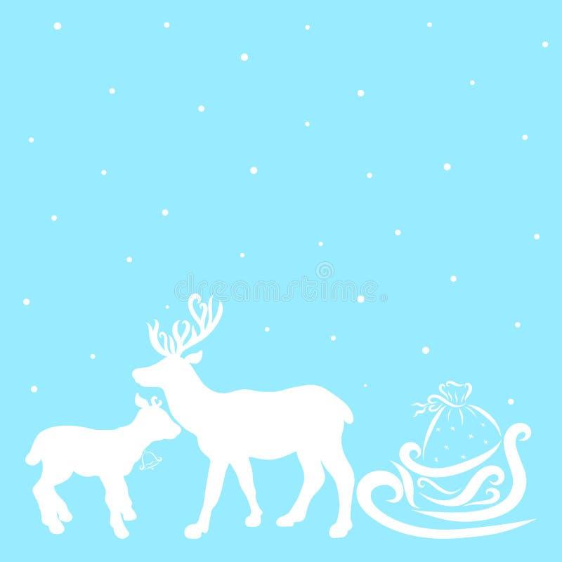Zachte Kerstmis blauwe achtergrond met sneeuw en witte silhouetten royalty-vrije illustratie